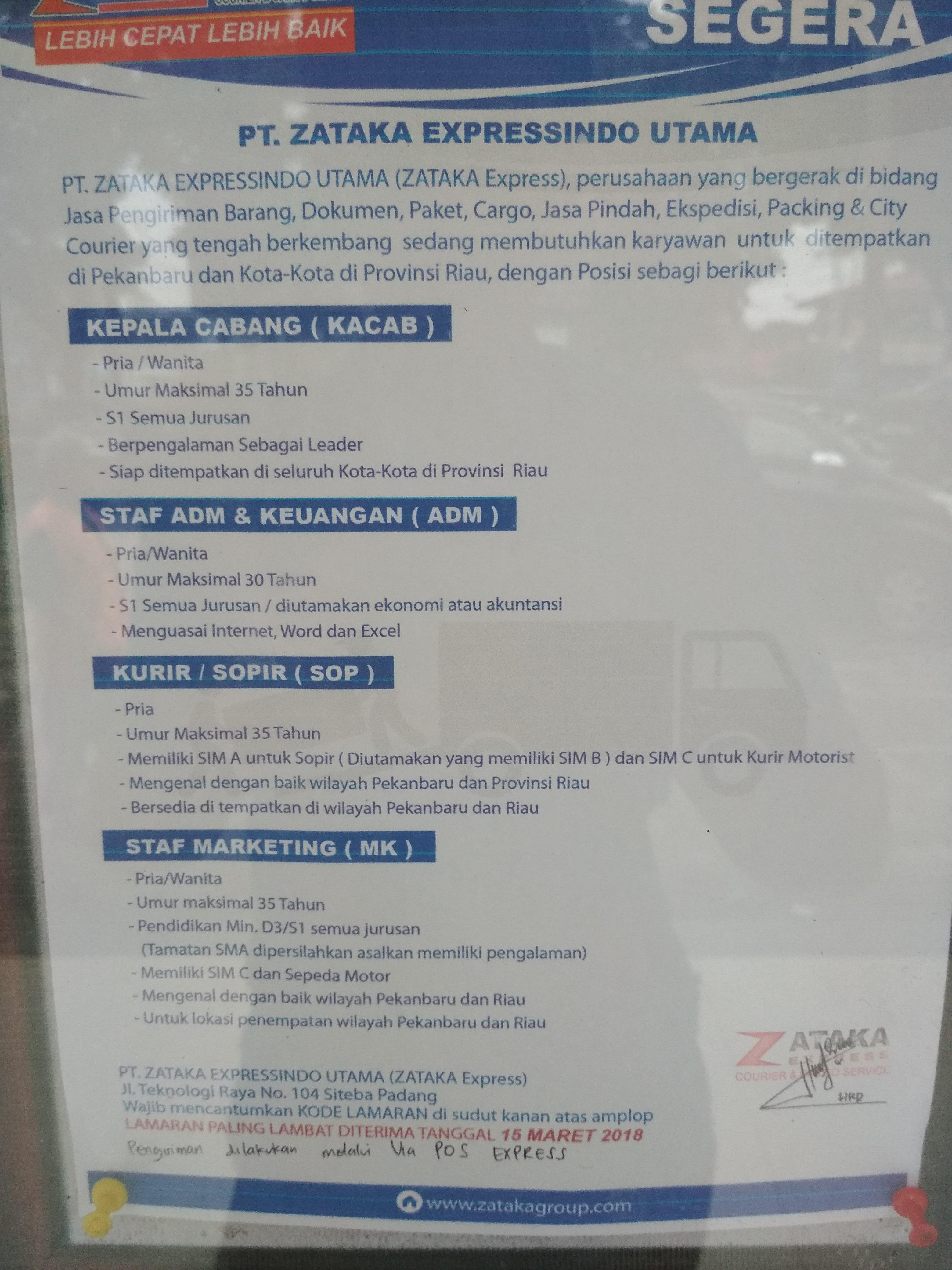 Lowongan Kerja Di PT ZATAKA EXPRESSINDO UTAMA Pekanbaru